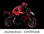 Постер, плакат: Motorcyclist in red equipment