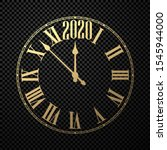 round 2020 new year clock on... | Shutterstock .eps vector #1545944000