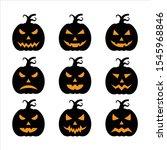 set halloween pumpkin vector... | Shutterstock .eps vector #1545968846