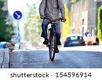 One bicyclist, low sun - stock photo