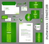 green stationery template... | Shutterstock .eps vector #154605188