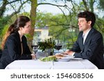 businesspeople having business... | Shutterstock . vector #154608506