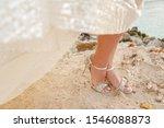 Female Feet In White Wedding...