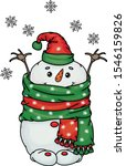 vector  happy  snowman cartoon  ... | Shutterstock .eps vector #1546159826