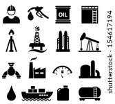 Oil, gasoline and petroleum related icon set