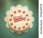 vector white birthday cake with ... | Shutterstock .eps vector #154618529