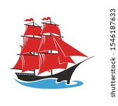 sailing ship with red sails.... | Shutterstock .eps vector #1546187633