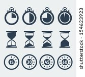 vector isolated timers icons set   Shutterstock .eps vector #154623923