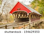 Red Wooden Covered Bridge In...