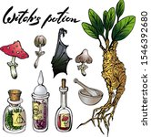 vector set with witch potion... | Shutterstock .eps vector #1546392680