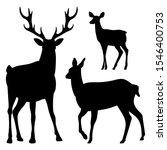 Deer. Set. Black Silhouette Red ...
