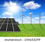 spring meadow with solar energy ... | Shutterstock . vector #154653299