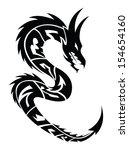 dragon tattoo design  vintage... | Shutterstock .eps vector #154654160