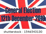 General election 12th December 2019 written on a fabric British Union Jack flag. Photograph with added text.