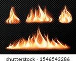 Set Of Realistic Fire Flames O...