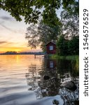 Picture Of Lakeside Sunset With ...
