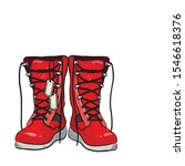 fashionable red military boots... | Shutterstock .eps vector #1546618376