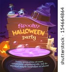 witch crafting pot. halloween... | Shutterstock .eps vector #154664864