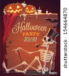 creepy skeleton. halloween... | Shutterstock .eps vector #154664870