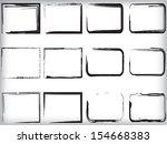 set of black grunge frames  | Shutterstock .eps vector #154668383