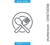 spoon and fork linear icon...