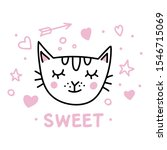 doodle cat head with pink for... | Shutterstock .eps vector #1546715069