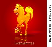 horse. happy new year 2014.... | Shutterstock .eps vector #154671953