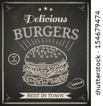 Burger house poster on chalkboard - stock vector
