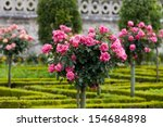 Stock photo gardens and chateau de villandry in loire valley in france 154684898