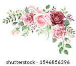 watercolor greenery and roses...   Shutterstock . vector #1546856396