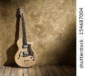 vintage jazz guitar in old jazz ... | Shutterstock . vector #154687004