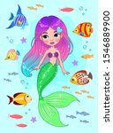 Cartoon Mermaid With Pink Hair...