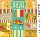 vintage card menu for pizzeria. ... | Shutterstock . vector #154689050