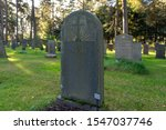 A Large Gray Stone Tombstone...