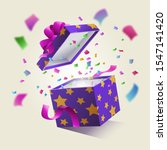 realistic surprise gift box... | Shutterstock .eps vector #1547141420