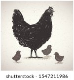 graphic silhouette of a chicken ... | Shutterstock .eps vector #1547211986