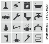 vector black  plumbing  icons... | Shutterstock .eps vector #154725020
