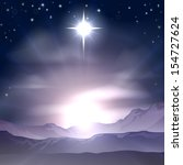 A Christian Christmas illustration of the Star of Bethlehem that the wise men followed over the dessert landscape. A Christmas Nativity landscape concept  - stock vector