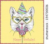 hand drawn illustration of cat... | Shutterstock .eps vector #154730036