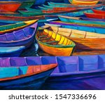Original Oil Painting Of Boats...