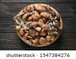 Different Fresh Wild Mushrooms...