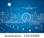 airplane comes in to land on... | Shutterstock .eps vector #154743980