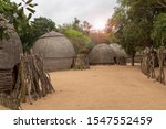 The Huts Of A Zulu Village In...