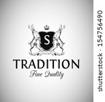 vintage emblem with shield and... | Shutterstock .eps vector #154756490