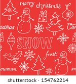 christmas doodle icons seamless ... | Shutterstock .eps vector #154762214