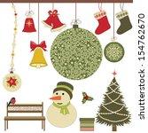 christmas retro icons  set of... | Shutterstock .eps vector #154762670