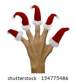 hand with red furry finger hats ... | Shutterstock . vector #154775486