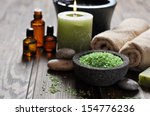 spa concept. sea salt in stone... | Shutterstock . vector #154776236