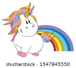 pink unicorn with large colored ... | Shutterstock . vector #1547845550