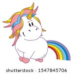 funny unicorn with colored tail | Shutterstock . vector #1547845706